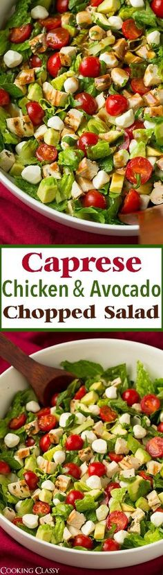 Caprese Chicken and Avocado Chopped Salad - this salad is SERIOUSLY DELICOUS!! Can't wait to make it again! by pauline
