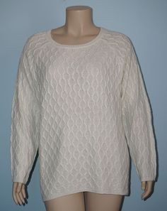 89th & Madison NWT Ivory Cable Pattern Exposed Zipper High-Low Sweater Top Sz 2x #89thMadison #ScoopNeck