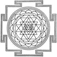 Use of mandalas in different cultures. Explanation of the Sri Yantra, mother of all yantras and mandalas from the Prerna School of Inspiration. Occult Symbols, Sacred Symbols, Hinduism Symbols, Tatuagem Yantra, Mandala Original, Tibetan Mandala, Motif Oriental, Les Chakras, Flower Of Life