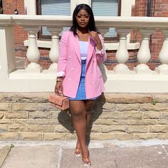 Image may contain: one or more people, people standing, shoes and outdoor Cute Outfits With Jeans, Curvy Outfits, Cute Summer Outfits, Classy Outfits, Pink Outfits, Chic Outfits, Fashion Outfits, Structured Fashion, Black Girl Fashion