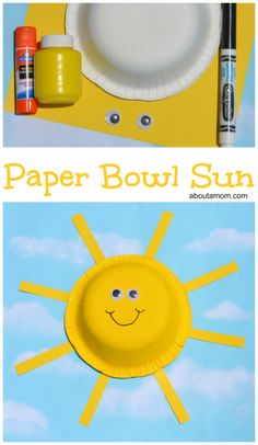 This paper bowl sun craft is a easy and fun summer themed craft for kids. Easy Preschool Crafts, Preschool Projects, Preschool Art, Toddler Crafts, Activities For Kids, Preschool Lessons, Daycare Crafts, Sun Projects, Projects For Kids