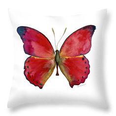 """83 Red Glider Butterfly Throw Pillow 14"""" x 14"""""""