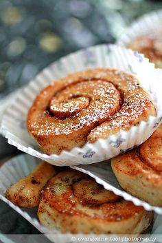 Wonderfully fragrant, scrumptious little Swedish cinnamon rolls. I remember my farmor always making these for me as a kid :)