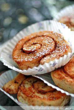 Wonderfully fragrant, scrumptious little Swedish Cinnamon Rolls. #cinnamon #buns #rolls #Swedish #food #baking #cooking #dessert