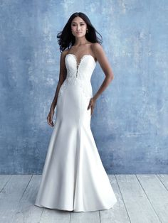 Strapless Sweetheart Neckline Fit And Flare Silk Wedding Dress With Lace Detail Simple Wedding Gowns, Fit And Flare Wedding Dress, Bridal Wedding Dresses, Bridal Style, Bridesmaid Dresses, Lace Wedding, Wedding Ideas, Mermaid Wedding, Dream Wedding