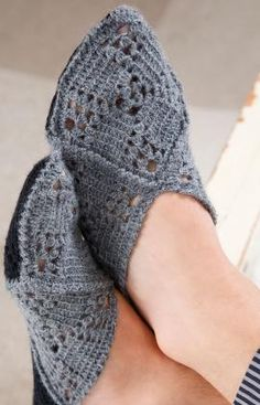 Gift Slippers Free Crochet Pattern from Red Heart Yarns (UK crochet terms)