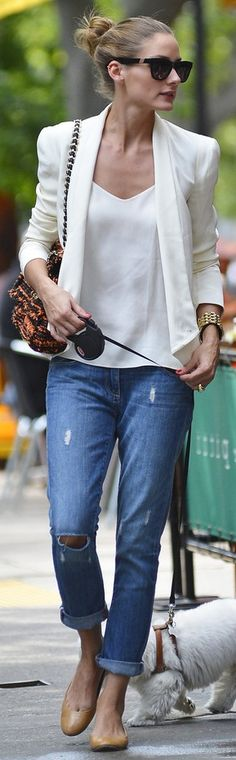 Olivia Palermo. Style icon and this is what I love about her outfit. The jeans are not skin tight and the white on white is loose and gorgeous. My KIND of outfit.