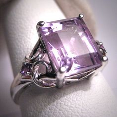 Vintage Rose De France Amethyst Ring Wedding White Gold.