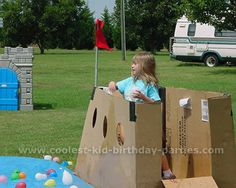pirate party games. make two boats out of fridge boxes and have a water balloon fight.