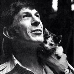 Leonard Nimoy and Cat