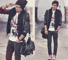 camiseta, bolsa, jaqueta