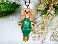 Blonde Golden Retriever Christmas Light Bulb Ornament Sally's Bits of Clay OOAK PERSONALIZED FREE. $16.99, via Etsy.