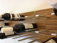 DIY Wine Rack - To preserve the taste and keep the corks moist, proper wine storage is essential. Wooden Wine Bottle Holder, Wine Glass Rack, Wine Bottle Holders, Wine Racks, Wine Bottles, Wine Rack Inspiration, Modern Wine Rack, Wall Storage Systems, Wine Display