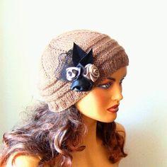Ideas Winter Knit Women hat Knitted Hat Winter Women Hat by RoseAndKnit on Etsy Crochet Beanie, Knitted Hats, Crochet Hats, Crochet Ideas, Crochet Hat For Women, Winter Hats For Women, Women Hats, Lace Gloves, Winter Accessories