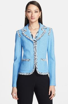 Fitted shape, collar, v-neckline, hits at high hip / Shadow Bouclé Knit Jacket / St. John Collection