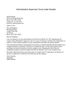 sample of cover letter | Administrative Supervisor Cover Letter Sample » Administrative ...