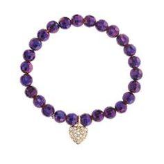 Beaded Charm Purple Stretch Bracelet