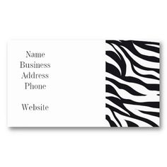 Black and White Zebra Stripes Print Pattern Gifts Business Card Template  #SOLD on #Zazzle