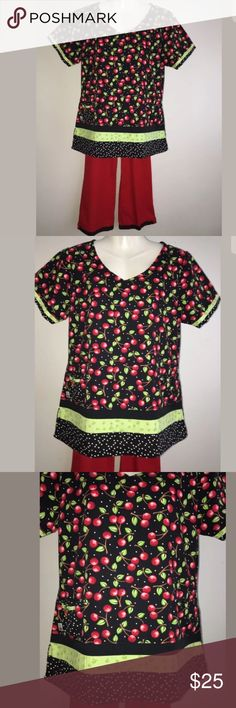 Mary Engelbreit Scrubs Set Sz S Cherry Festival No holes or stains. Very good condition, colors still vibrant. Mary Engelbreit Other