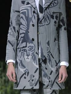 patternprints journal: PRINTS, PATTERNS, TEXTURES AND TEXTILE SURFACES FROM MENSWEAR S/S 2016 COLLECTIONS / PARIS CATWALKS Thom Browne