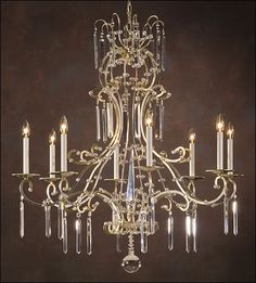 Eight-light hand-wrought iron chandelier with crystal pendants and trim, lightly antiqued silverleaf finish. Details on our website: DecorativeCrafts.com #decorativecrafts #decorative #lighting #lightfixture #chandelier #interiordesign #interiordecor #interior #lightfixtures #chandeliers #ceiling #homedesign #roomdesign #officedesign #elegant #chic #lavish #luxury #luxurious #crystal