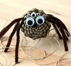 Create Pine Cone Spiders for Halloween fun, or use this nature craft for kids as an opportunity to learn about the natural world. Halloween Crafts For Kids To Make, Spooky Halloween Crafts, Fall Crafts For Toddlers, Halloween Projects, Cute Halloween, Diy For Kids, Halloween Stuff, Kid Crafts, Pine Cone Art