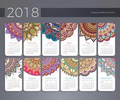 Calendario 2018. Elementos decorativos vintage