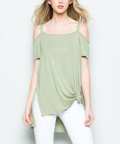 Take a look at this CY Fashion Sage Side-Slit Cold-Shoulder Top today!