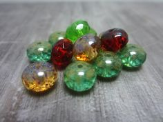 10 Mix Czech Glass Rondelle Beads Green Red Blue Sandy Yellow