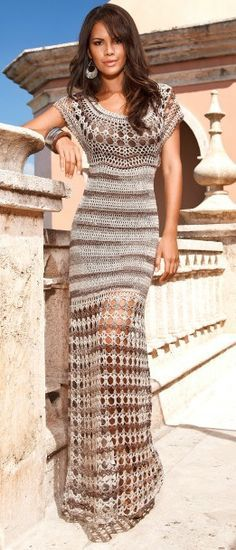 Crochet maxi dress...gorgeous! I made this in a shorter version.