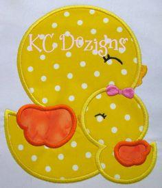 Mamá y bebé pollito apliques bordado diseño de por KCDezigns
