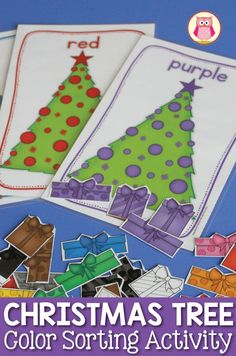 There are many ways to use this Christmas tree color sorting activity: learn colors by color sorting, counting, sorting by style, small group games and a busy book....a great Christmas themed activity for preschool, pre-k, and totschool.