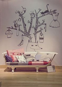 Great design to use with MagScapes magnetic wallpaper and custom magnets. How about this wall mural in a child's room? Such whimsy. Casa Kids, Wall Design, House Design, Design Bedroom, Deco Kids, Blog Deco, Kids Decor, Home Decor, Kid Spaces