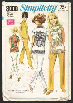 1960s Vintage Sewing Pattern Simplicity 8000 Misses Womens Blouse Stand Up Band Collar Top, Straight Leg Pants - Size 18 Bust 40