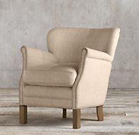 Restoration Hardware's Professor's Upholstered Chair:Flour sack linen, with the chunky weave of vintage French grainery bags, lends rustic warmth to the refined aesthetic of our petite chair.