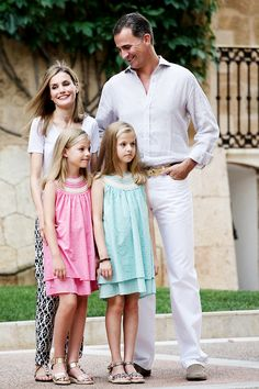 misshonoriaglossop:  Spanish Royal Family, Palma de Mallorca, August 5, 2014-Infanta Sofía, Infanta Leonor, Queen Letizia and King Felipe