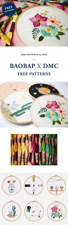 FREE EMBROIDERY PATTERNS from DMC. Embroidery Patterns Free, Embroidery Hoop Art, Ribbon Embroidery, Embroidery Stitches, Cross Stitch Patterns, Embroidery Designs, Indian Embroidery, Sewing Crafts, Sewing Projects