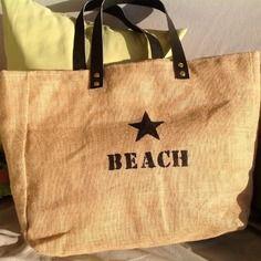"""Grand sac de plage en toile de jute, façon """"cabas"""" xl"""