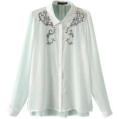 White Ladies Lapel Chiffon Embroidered Sheer Blouse (600 CZK) ❤ liked on Polyvore featuring tops, blouses, see through tops, white embroidered blouse, sheer chiffon top, chiffon blouse and white sheer top