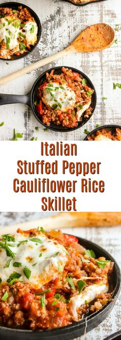 Italian stuffed pepper cauliflower rice skillet is a delicious twist on traditional stuffed peppers. It's low carb, high protein and ready in 30 minutes, making it perfect for any night of the week.