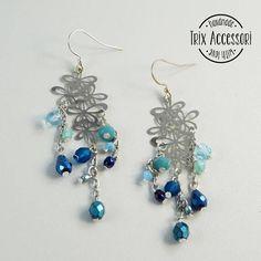 Pendant earrings Flower Power silver chandelier