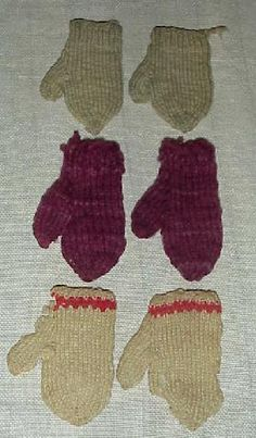 Authentic old doll mittens ..    19thC ~♥~