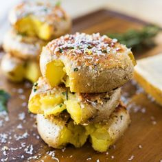 Crispy-Roasted Smashed Parmesan Potatoes with Rosemary-Garlic Olive Oil.