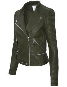 Cielo Women's Moto Faux Leather Jacket Olive JK1020