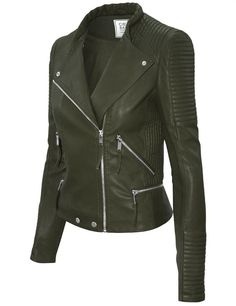Cielo Women's Moto Faux Leather Jacket Olive JK1020
