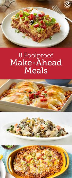 Busy schedules and dinnertime don't always mix. These easy, delicious make-ahead meals will inspire your dinner prep and be a savior during busy weeks. Meal Prep Rezepte, Savior, Quick Meals, Plan Ahead Meals, Make Ahead Freezer Meals, Easy Dinners, Freezable Dinners, Weeknight Meals, Crockpot Meals