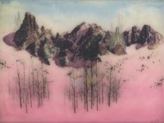 Portfolio - Brooks Shane Salzwedel, Bones of the Mountain, 2013, graphite, tape, color pencil, spray paint on mylar and resin on panel, 18 x 24 inches