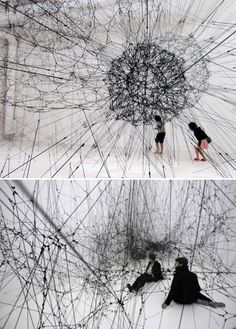 Tomás Saraceno. His visionary construction here comes in the form of a giant spider web composed of 8,000 strings hand-knotted 23,000 times.