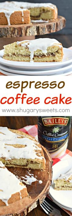 Espresso Coffee Cake: the perfect breakfast! One slice of this espresso infused cake with french vanilla frosting and you'll want more!
