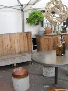 Rosebowl flea market...Wouldn't that trolley make a great settee/ bench..Just add cushions and voila!